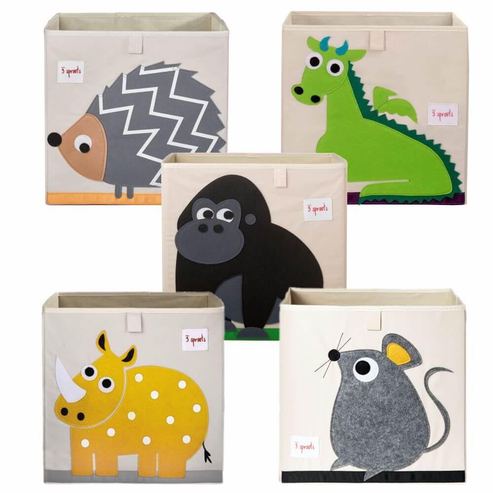 Organizador Infantil de Brinquedos Quadrado Animais (Unidade) - 3 Sprouts