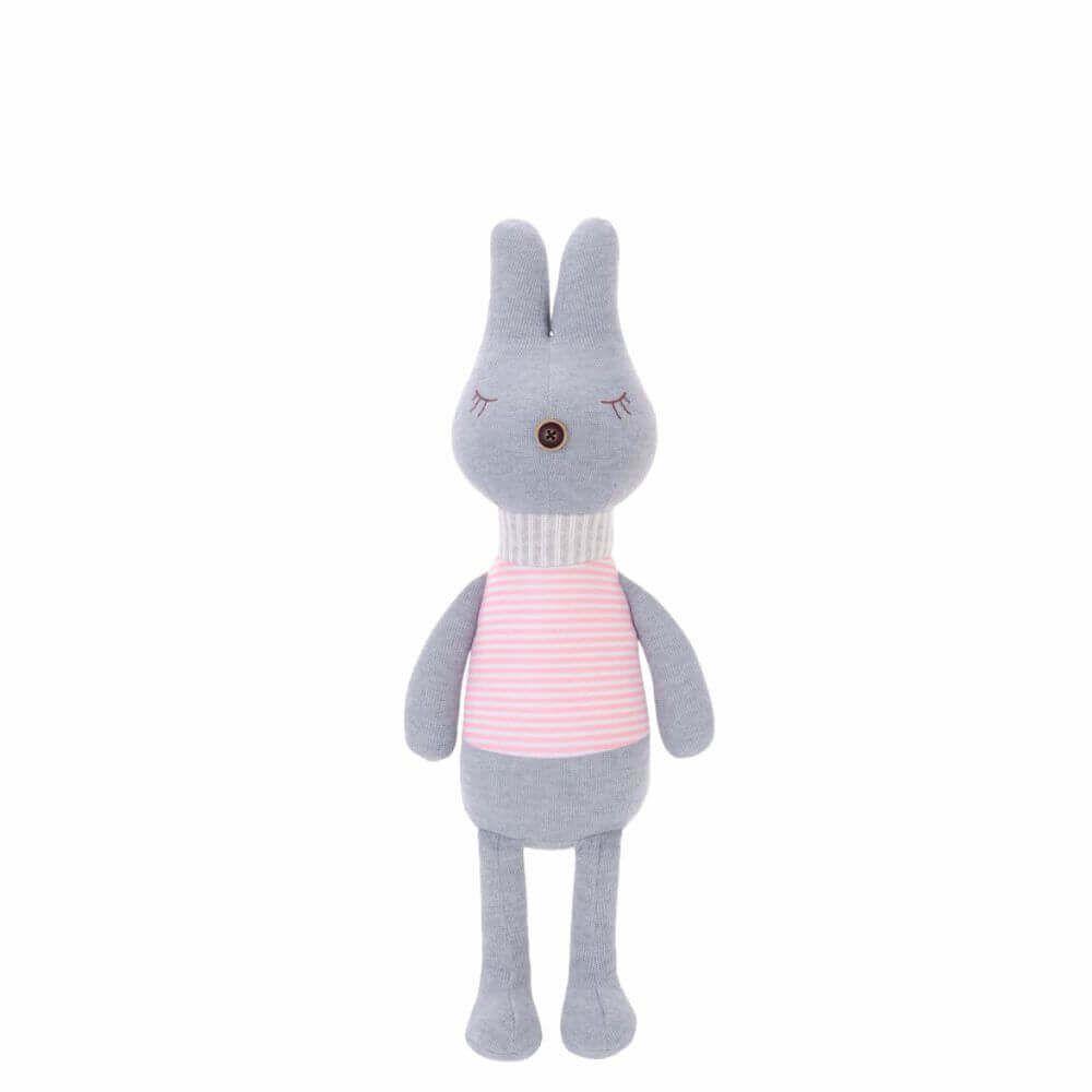 Pelúcia Cinza Metoo Doll Bunny Retrô Listras Rosas (Unidade)