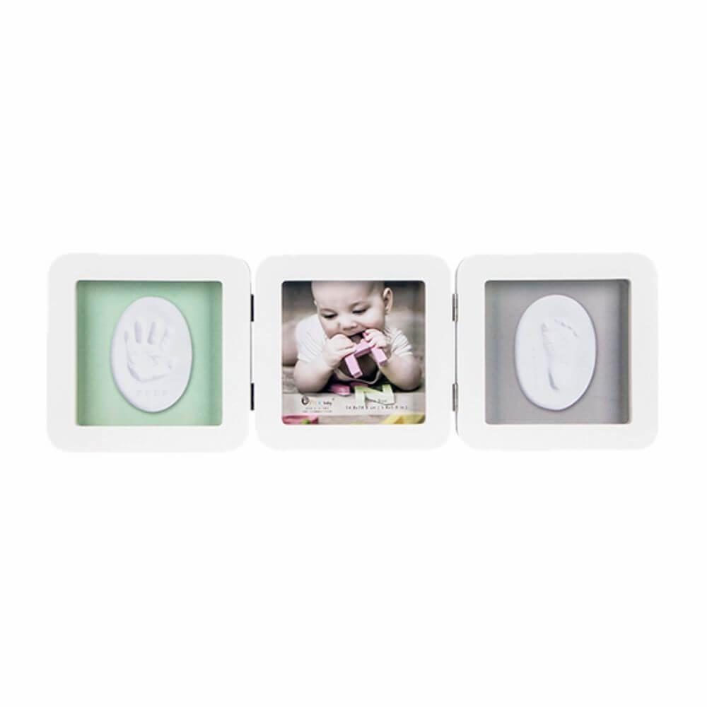 Porta-retrato Triplo com Moldes para Pés e Mãos dos Bebês