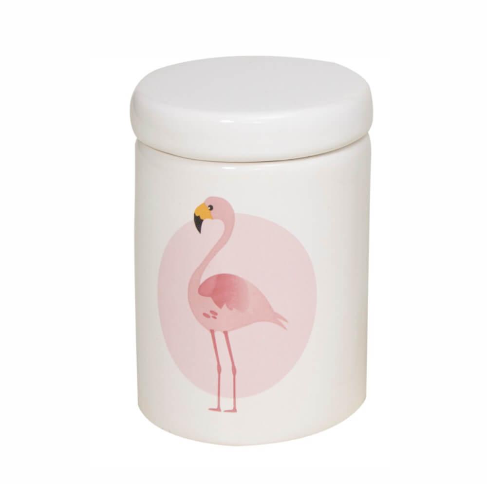 Pote Grande em Cerâmica Branco com Flamingo