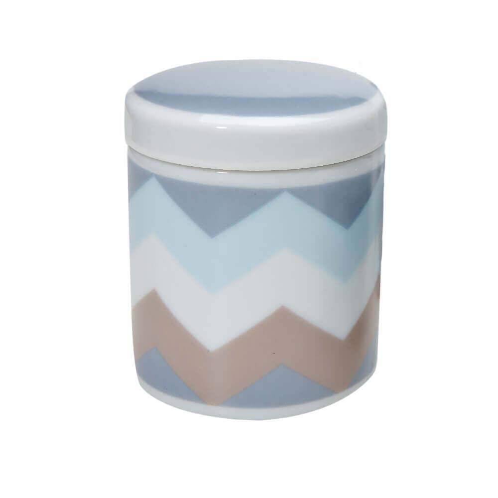 Pote Grande em Porcelana Chevron Azul