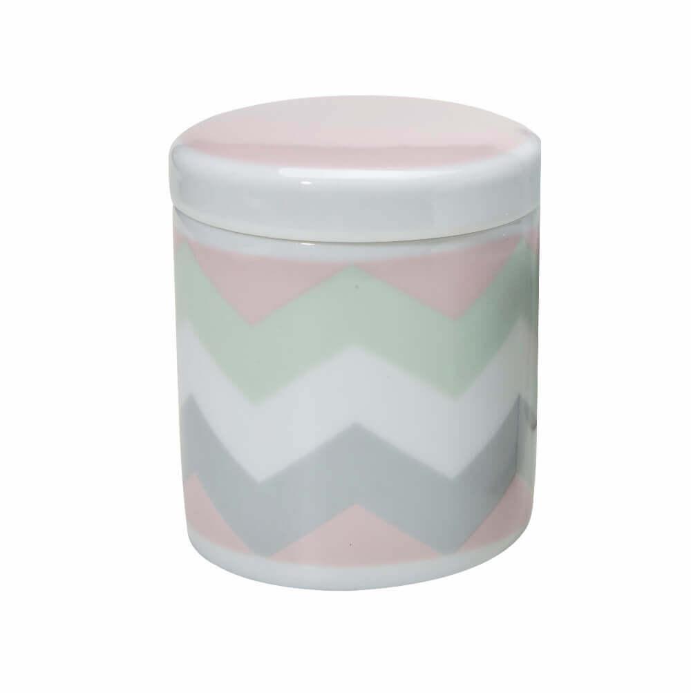 Pote Grande em Porcelana Chevron Rosa