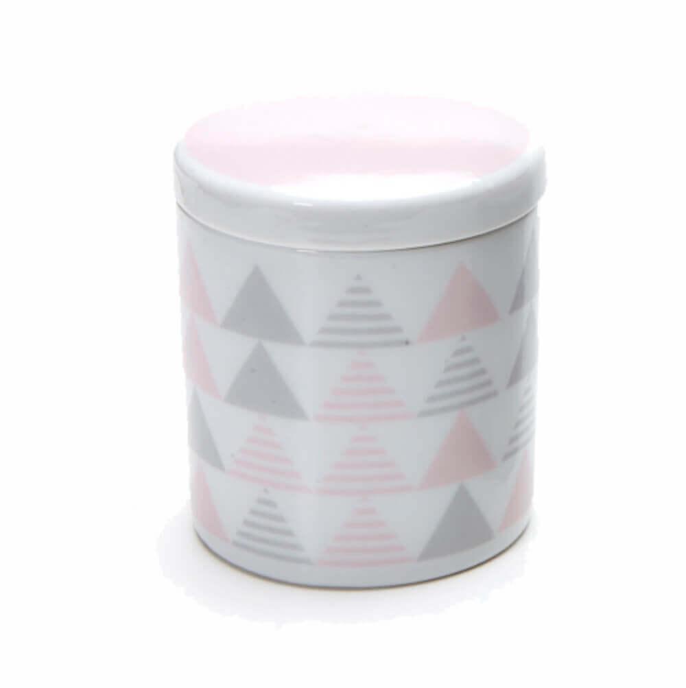 Pote Grande em Porcelana Geométrico Rosa