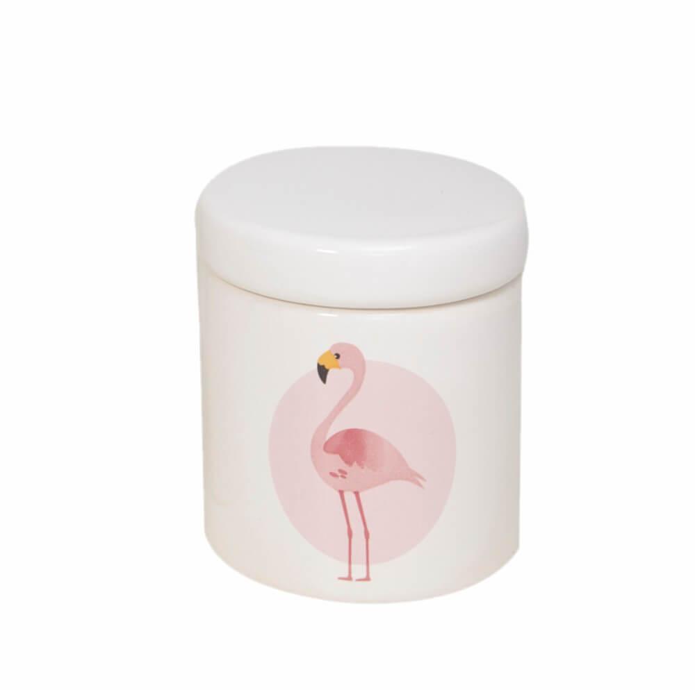 Pote Pequeno em Cerâmica Branco com Flamingo