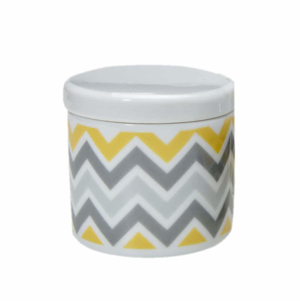 Pote Pequeno em Porcelana Chevron Amarelo