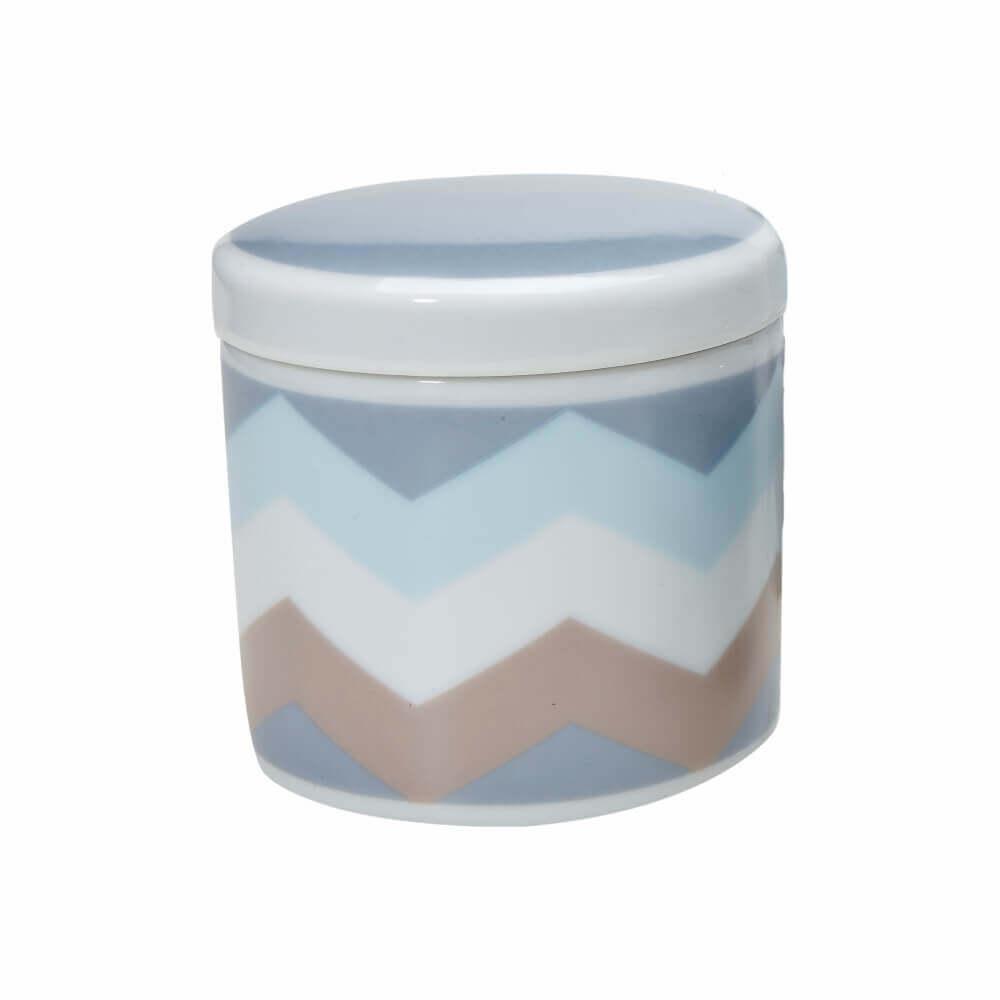 Pote Pequeno em Porcelana Chevron Azul