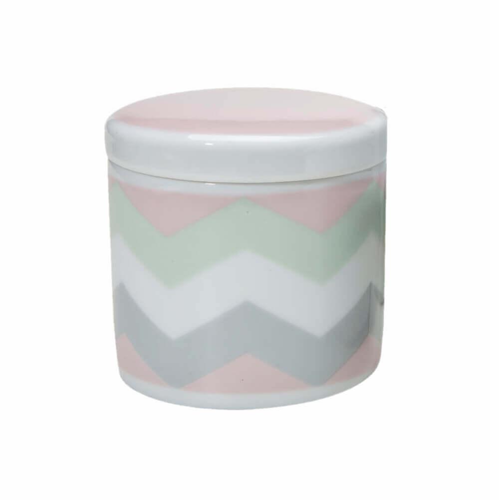 Pote Pequeno em Porcelana Chevron Rosa
