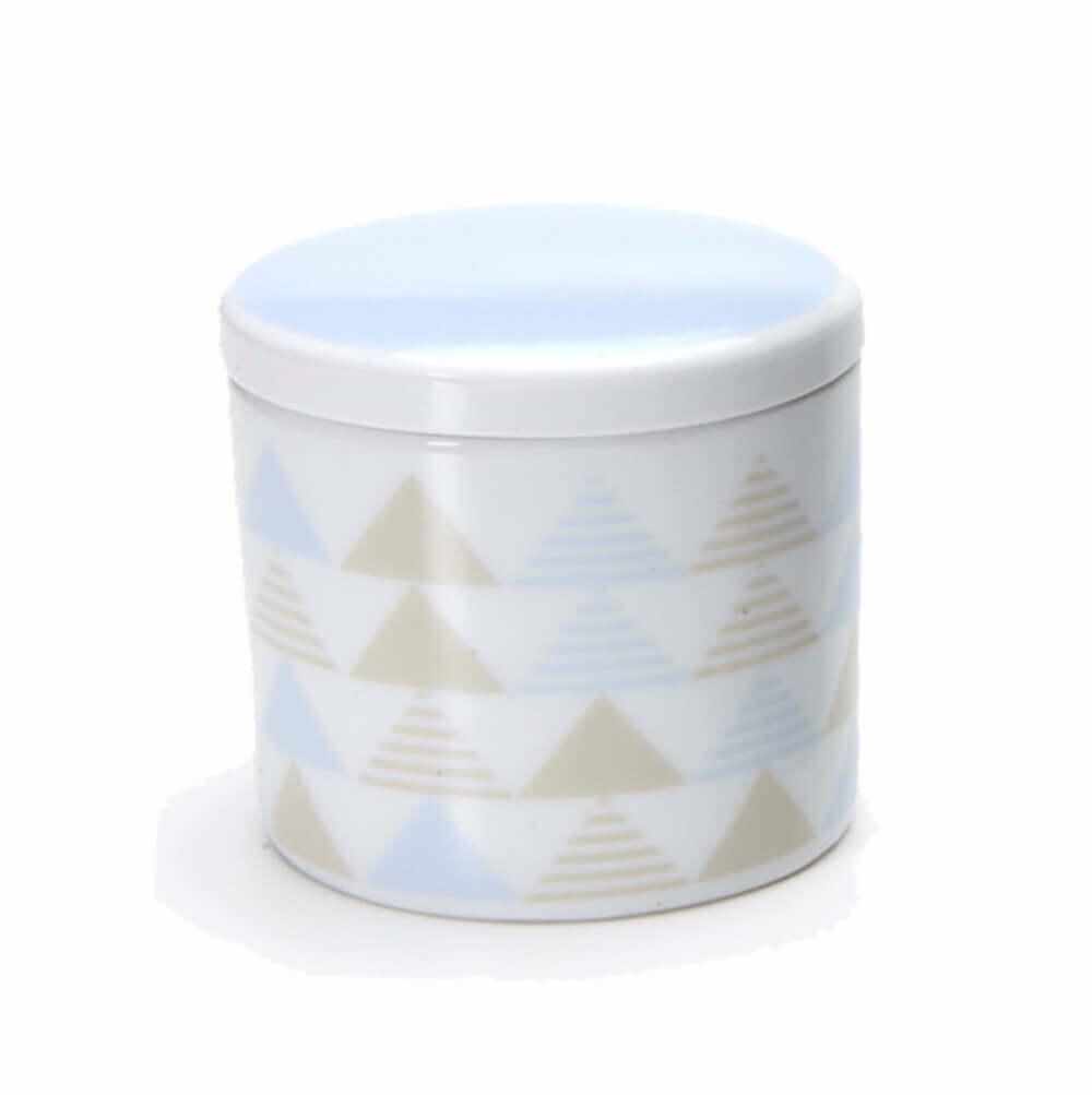 Pote Pequeno em Porcelana Geométrico Azul