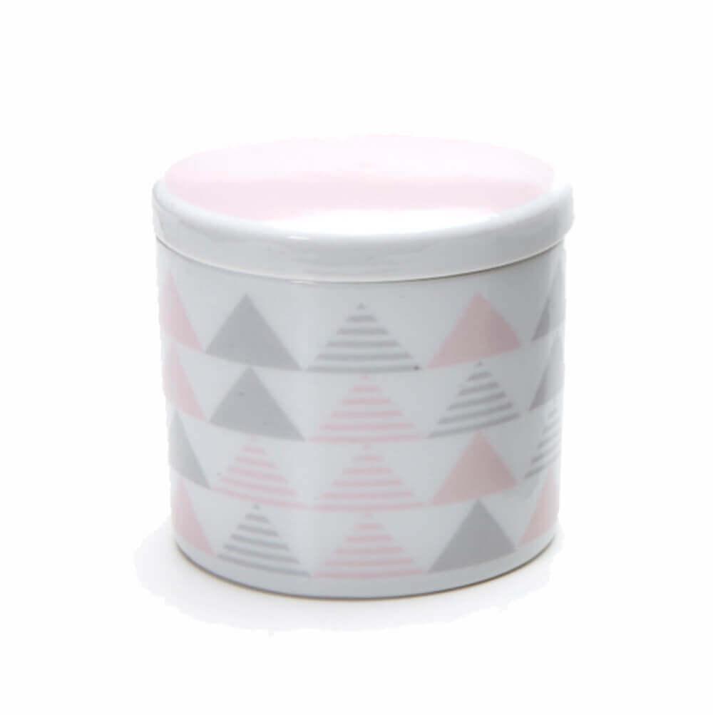 Pote Pequeno em Porcelana Geométrico Rosa