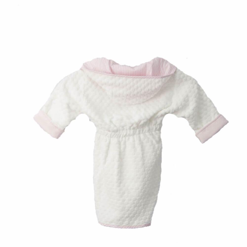 Roupão Infantil Branco com Capuz Listrado Rosa - Blue Gardenia
