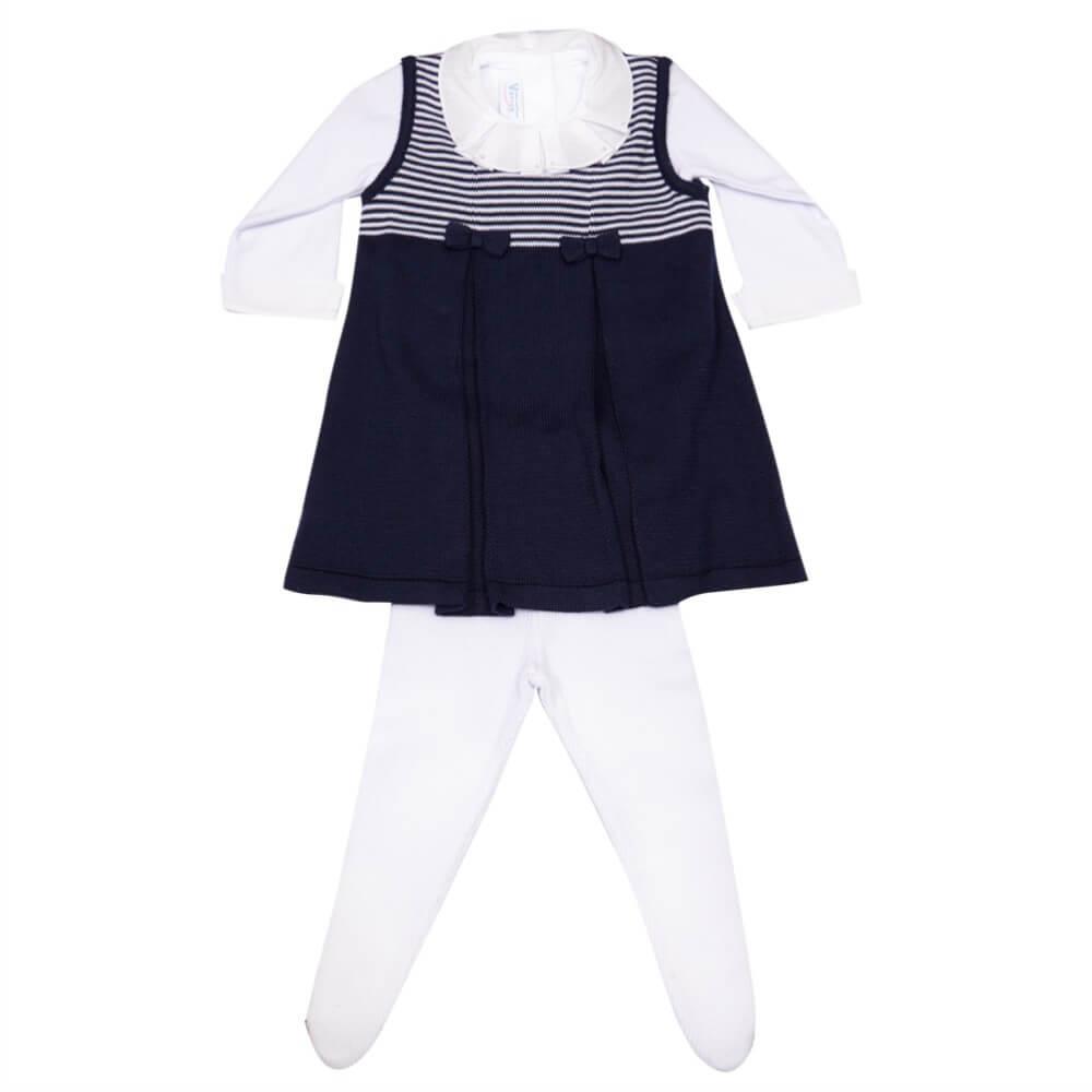 Salopete Azul com Meia Calça de Tricô para Bebê - Verivê