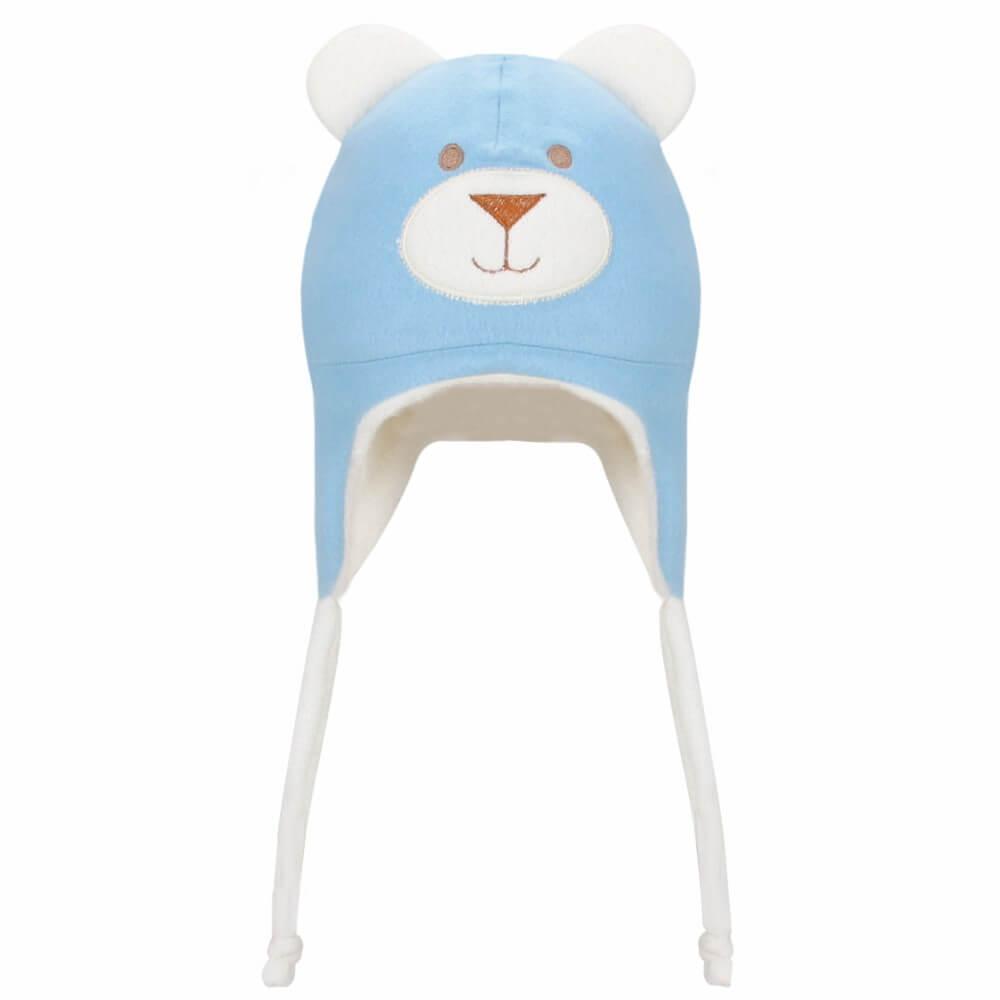 Touca Infantil de Plush Ursinho - Azul