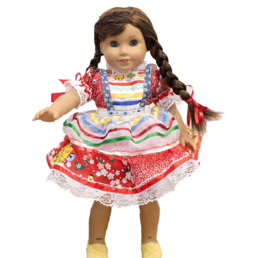 Vestido De Festa Junina Para Boneca - Vermelho