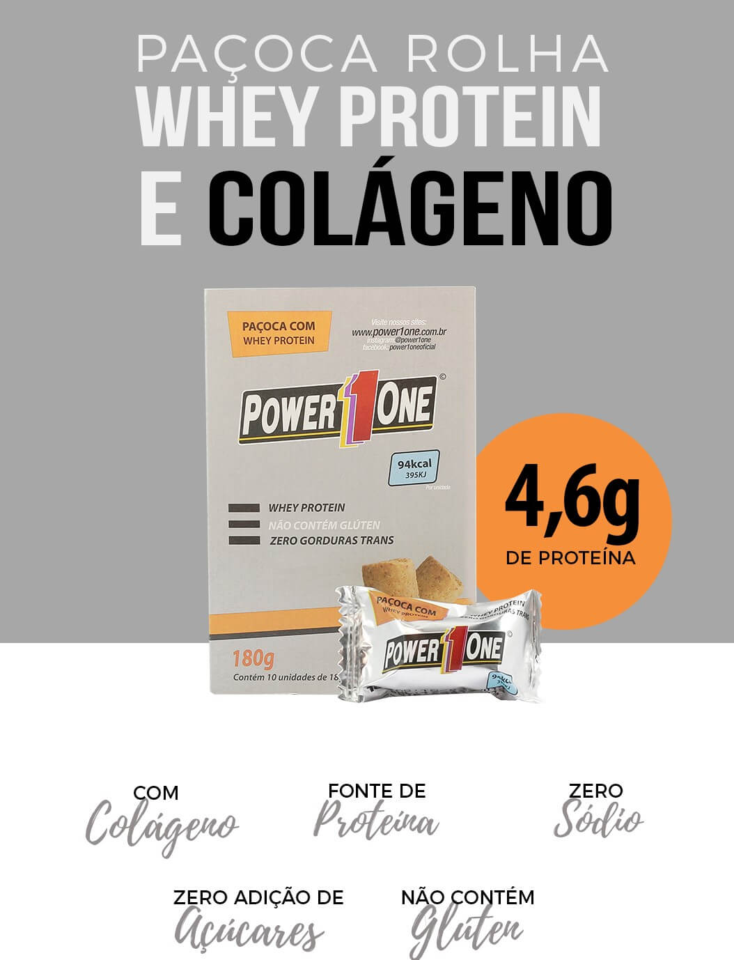 PAÇOCA ROLHA COM WHEY PROTEIN E COLÁGENO 432g (24 unidades de 18g)