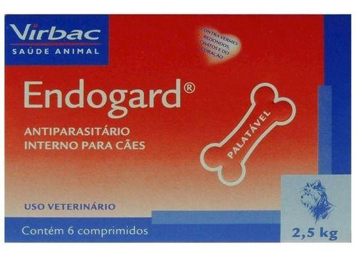 Kit Endogard Vermifugo Caes 2,5kg E 30kg 6comp Virbac