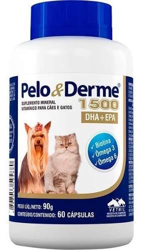 Pelo E Derme Para Cães E Gatos 1500mg Dha+epa 60 Cápsulas.