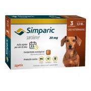 Anti Pulgas Simparic 20mg C/3comp Cães 5,1 A 10 Kg