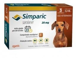 Anti Pulgas Simparic 20mg C/3comp Cães 5,1 A 10 Kg