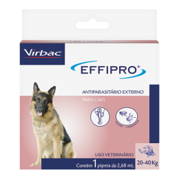 Antipulgas E Carrapatos Effipro Cães 20 A 40kg 2,68ml Virbac