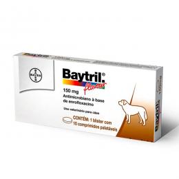 Baytril Flavour 150mg Para Cães Com 10 Comprimidos