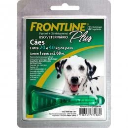 Frontline Plus Antipulgas e Carrapatos Cães 20 a 40kg