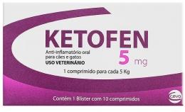 Ketofen 5mg 10 comprimidos Ceva Anti-inflamatório Cães e Gatos