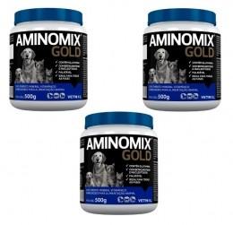 Kit 3 Aminomix Gold 500g Vetnil Suplemento Vitamínico