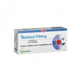 Marbocyl P 80mg Antibiótico Vetoquinol 12 comprimidos