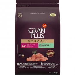Ração GranPlus Gourmet Peru e Arroz para Cães Adultos Mini - 3 Kg