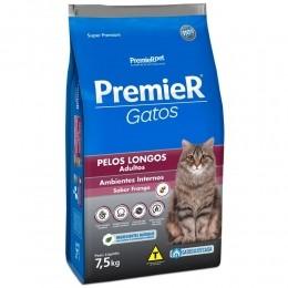 Ração Premier Gatos Adultos Ambientes Internos  Pelos Longos Frango 7,5kg