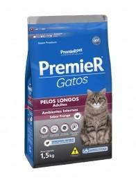 Ração Premier Gatos Pelos Longos Adultos Frango 1,5Kg