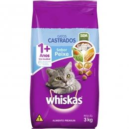 Ração Whiskas Peixe para Gatos Adultos Castrados - 3 Kg