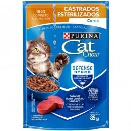 Sache Cat Chow Purina Castrados Carne 85g Kit 15 Und.