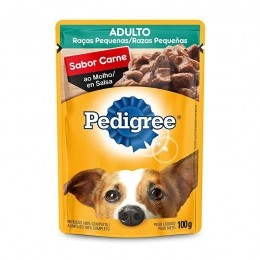 Sache Pedigree Adulto Raças Pequenas Carne 100g Cães Kit 20 Und.