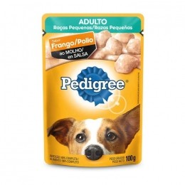 Sache Pedigree Adulto Raças Pequenas Frango 100g Cães Kit 20 Und.