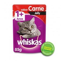 Sache Whiskas 1+ Adulto Carne Jelly 85g Kit 20 Und.