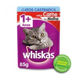 Sache Whiskas 1+ Adulto Gatos Castrados Carne 85g