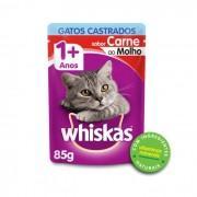 Sache Whiskas 1+ Adulto Gatos Castrados Carne 85g Kit 20 Und