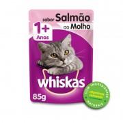 Sache Whiskas 1+ Adulto Salmão ao Molho 85g Kit 20 Und.