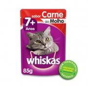Sache Whiskas 7+ Adulto Carne ao Molho 85g Kit 20 Und.