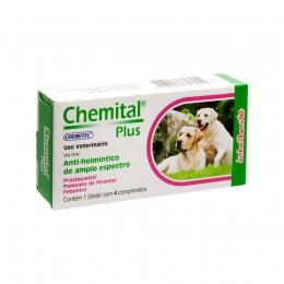 Vermífugo Chemital Plus Cães 4 Comprimidos