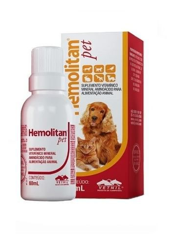 Hemolitan Pet Suplemento Vitamínico Mineral P/ Animais 60ml