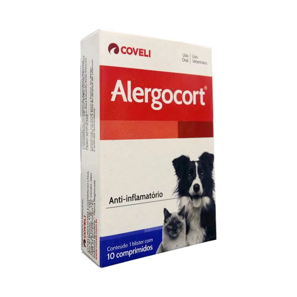 Alergocort Anti-Inflamatório Coveli Para Cães e Gatos 10comp.