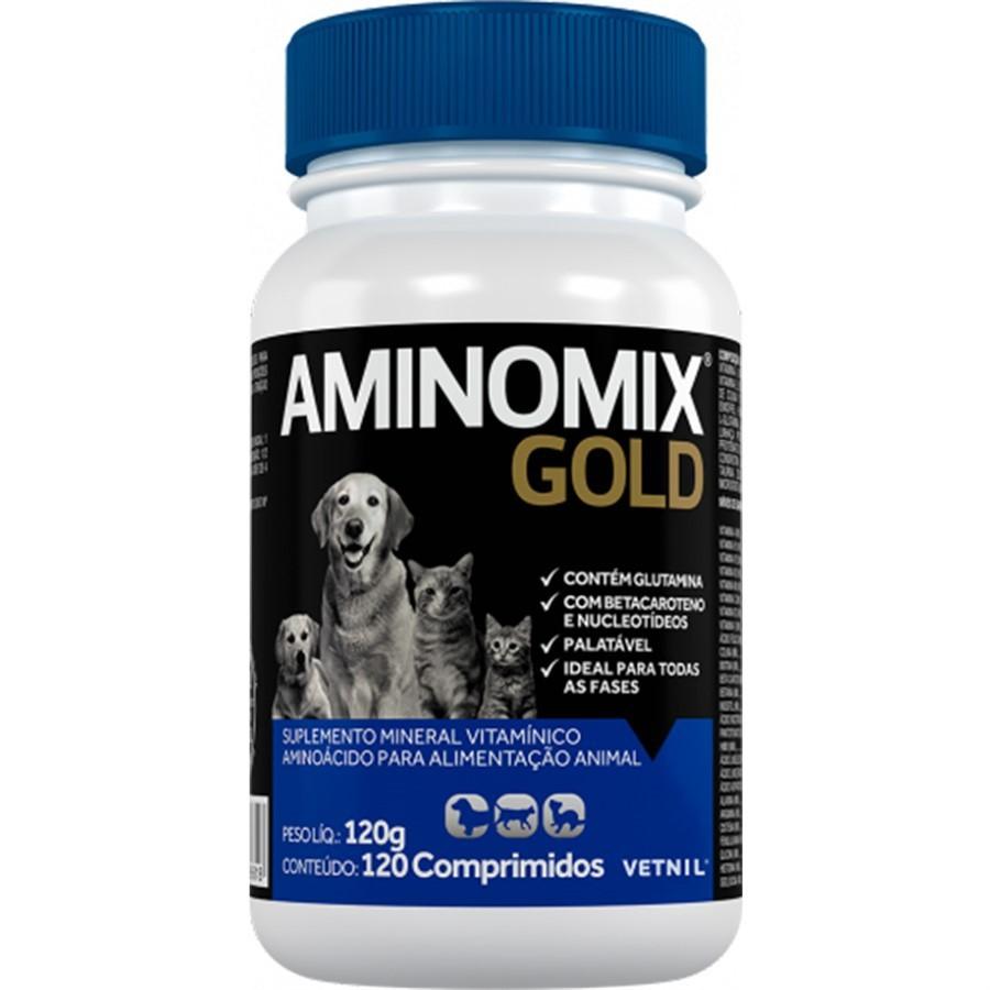 Aminomix Gold 120g Vetnil Suplemento 120 Comprimidos