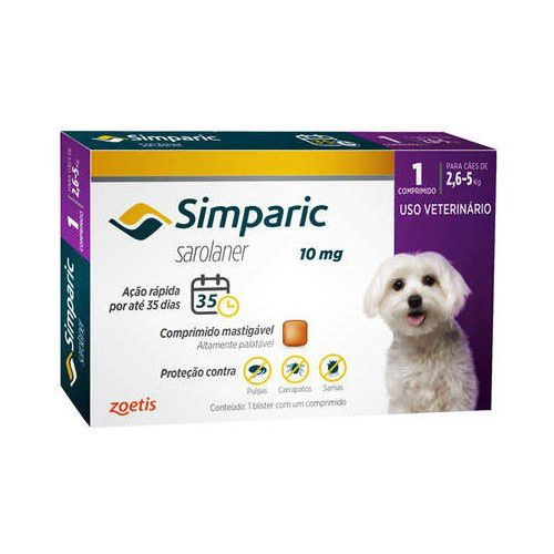 Anti Pulgas Simparic 10mg 1Comp Cães 2,6 A 5 Kg
