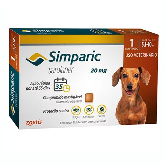 Anti Pulgas Simparic 20mg C/1comp Cães 5,1 A 10 Kg