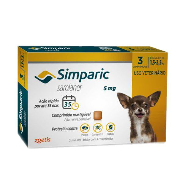 Anti Pulgas Simparic 5mg C/3comp Cães 1,3 A 2,5 Kg