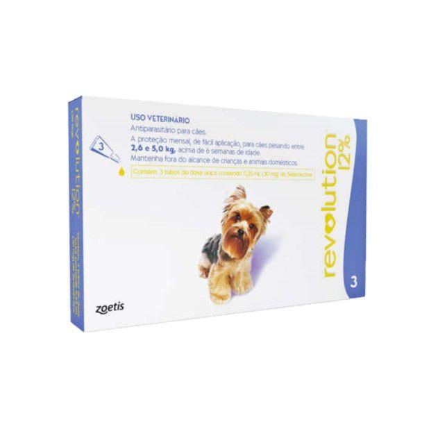 Antipulgas Revolution 12% 3 Pipetas Cães De 2,6 A 5kg