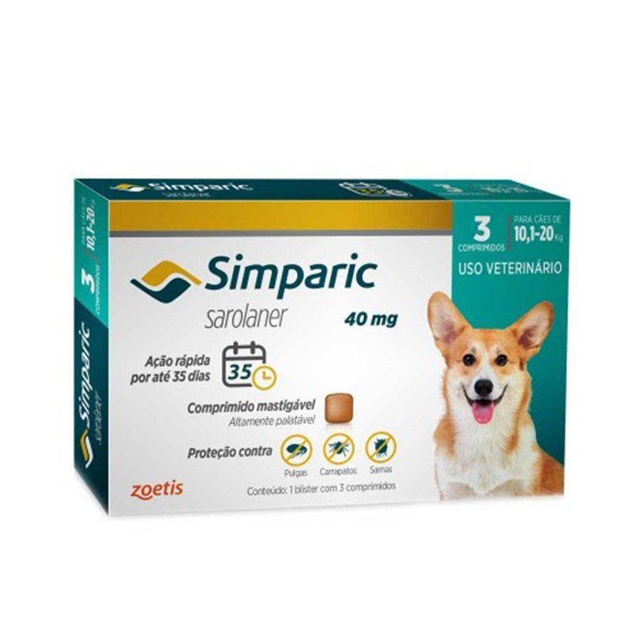 Antipulgas Simparic 40mg Para Cães De 10kg Até 20kg - 3 Comp