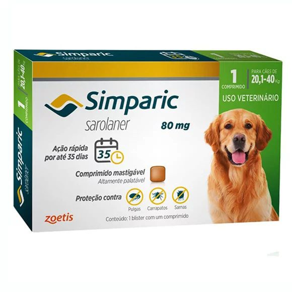 Antipulgas Simparic 80mg Para Cães De 20kg Até 40kg  1 Comp